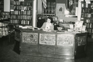 Dorris Parker presides at the circulation desk.