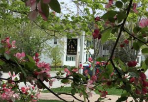 Library sign in spring