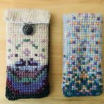 Cross-stitch by 5th graders Elle Skene (left) and Lili Burns