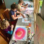 Murphy kids making art at home