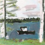 """Little Black Loster Boat,"" Jill Finsen; Oil on Board; $250"