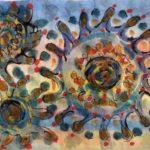 """Covid Dances Through the Air,"" Watercolor & ink"