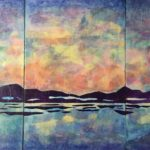 """""""Dawn/Dusk,"""" Acrylic and Collage on Paper and Panel Triptych"""