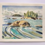 """Melissa Rioux, """"Island View,"""" watercolor, 21x21 (9.5x9.5), $500"""