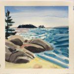 "Melissa Rioux, ""The Beach,"" watercolor, 21x21 (11x9.5), $500"