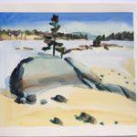 """Melissa Rioux, """"The Park,"""" watercolor, 21x21 (11.5x9.5), $500"""