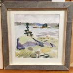 "Melissa Rioux, ""The Big Rock,"" watercolor, 24x24 (16x16), $750"
