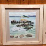 """Melissa Rioux, """"Four Rocks,"""" watercolor, 24x24 (16x16), $750"""