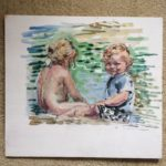 """Melissa Rioux, """"Two at the Beach,"""" egg tempera, NFS"""