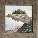 "Penny Ricker, ""Great Spruce Head Island,"" egg tempera, 6x6, $350"