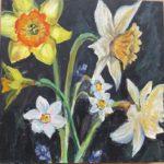 "Penny Ricker, ""Spring Flowers,"" egg tempera, 6x6, $150"