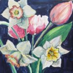 "Penny Ricker, ""Farmer's Market Bouquet,"" egg tempera, 6x6, $150"