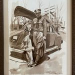 """Penny Ricker, """"Game Warden Days 1940,"""" watercolor, NFS"""