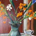 """Penny Ricker, """"Blue Iris in Rowantree's Vase,"""" oil, 16x20, $400"""