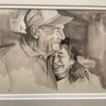 """Penny Ricker, """"Dad with Karyl,"""" watercolor, NFS"""