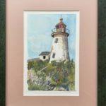 "Penny Ricker, ""Burnt Island Light,"" gouache, 5x7, $300"