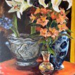 """Penny Ricker, """"Alstroemeria and Lily,"""" acrylic, 18x24, 500"""