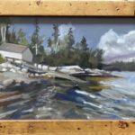 "Penny Ricker, ""Burnt Island,"" gouache, 9x6, $350"