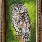 "Penny Ricker, ""Barred Owl,"" acrylic, 6x9, $300"