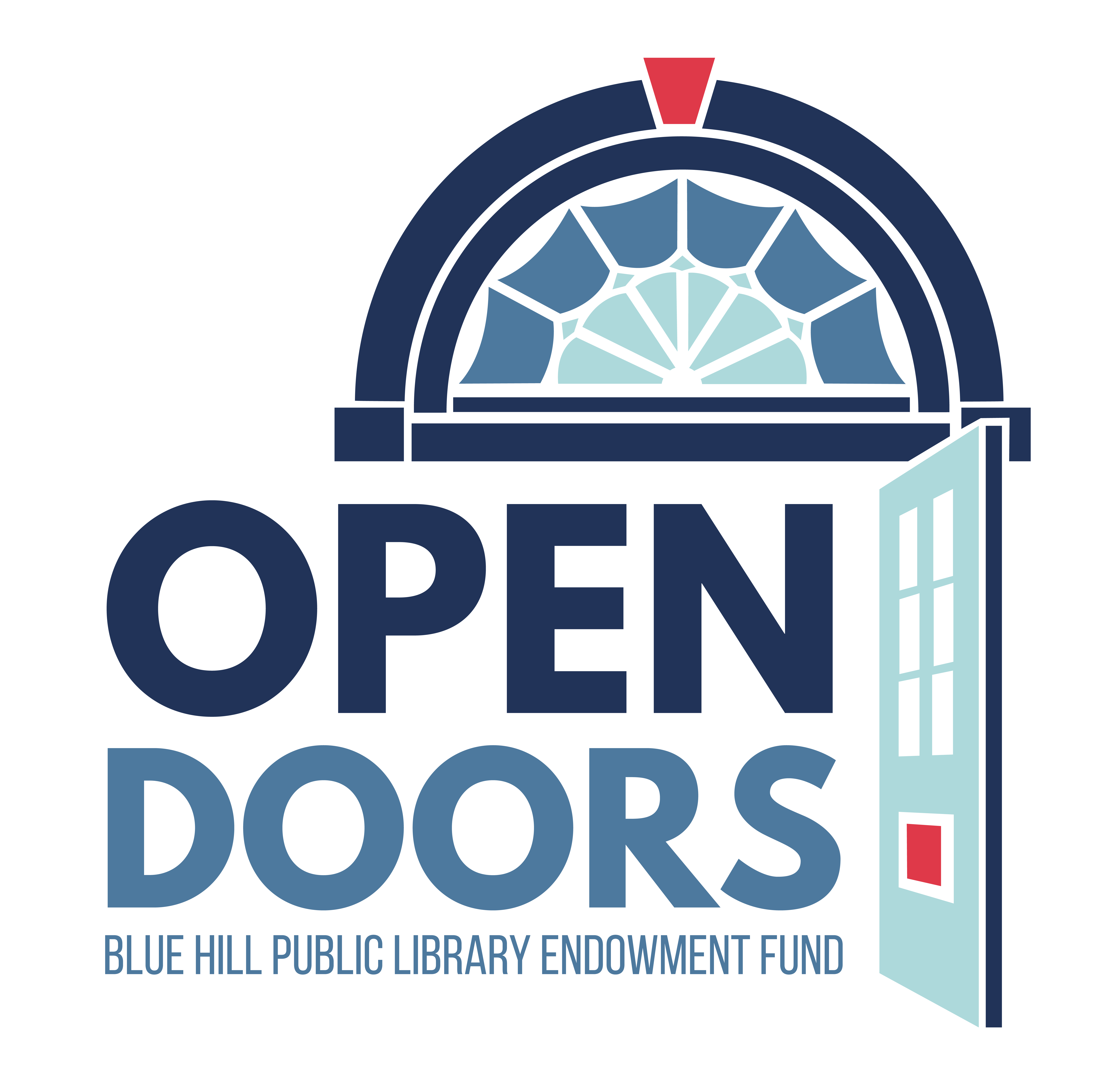 BHPL Open Doors logo. Image of doorway in blues and red with text that says Open Doors, Blue Hill Public Library Endowment Fund